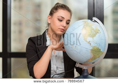 Happy Woman With His Global