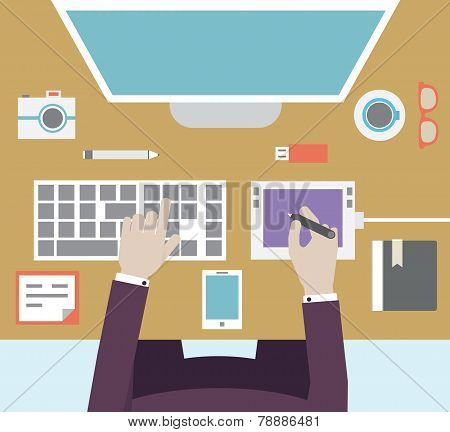 Workplace Of Designer With Devices For Work. Flat Style
