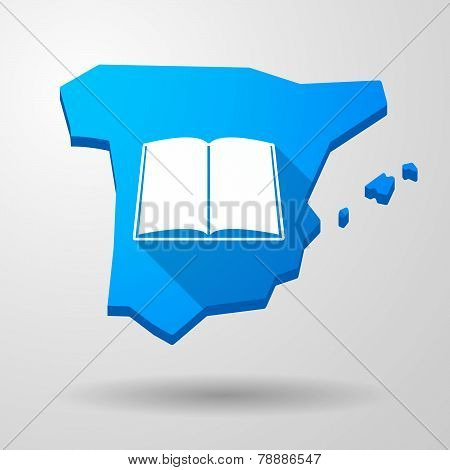 Spain Map Icon With A Book