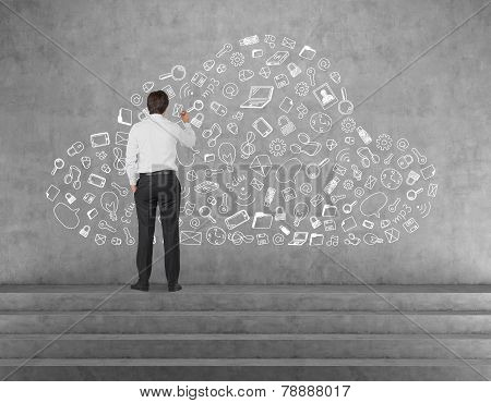 Businessman Drawing Business Icon