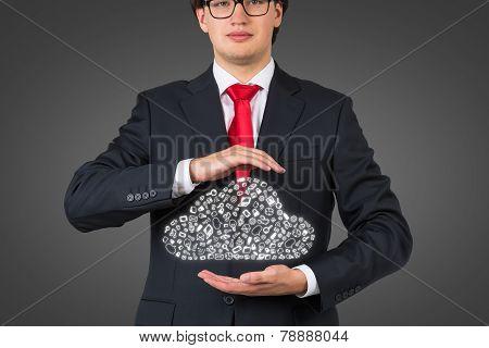 Man Holding  Business Symbol