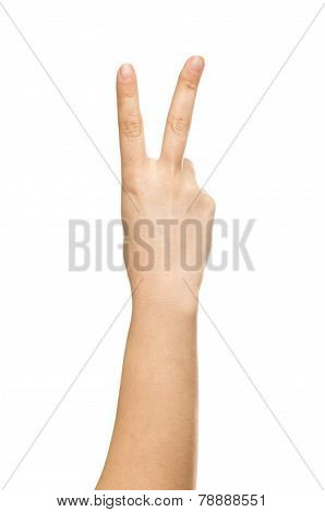 isolated hand, number two, sign of victory