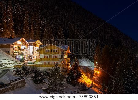 Night View At Ski Resort At The Mountain Slopes