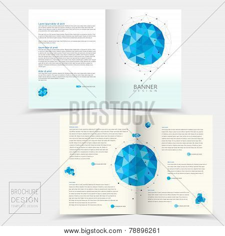 Half-fold Brochure Template With Geometric Blue Crystal Elements