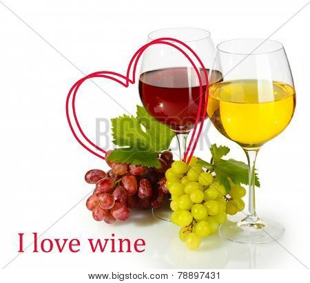 Glasses of wine and ripe grapes with heart-frame isolated on white