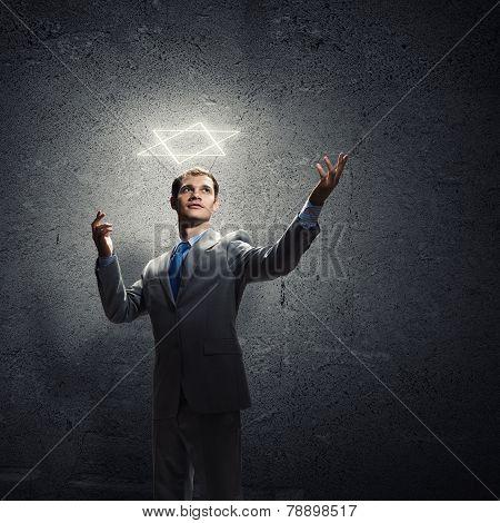 Gesturing businessman