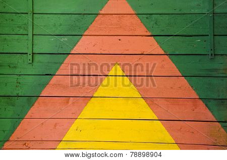 Panted Colorful Wooden Wall Door Background