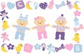 stock photo of twin baby  - newborn boy girl childhood toy little clip - JPG