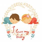 pic of twin baby girls  - Cute baby card with two babies sleeping - JPG