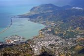 image of marina  - Aerial View of Nelson City Port Marina and Surrounding Hills New Zealand - JPG