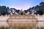 foto of schoenbrunn  - Neptune fountain of Schonbrunn Palace in Vienna Austria at sunset - JPG