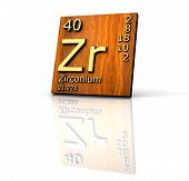 Zirconium Form Periodic Table Of Elements - Wood Board poster