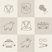 picture of sheep  - sheep vector set flat illustration new modern style - JPG