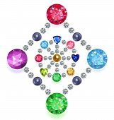 image of gem  - Set of colored gems located on a rhombus  - JPG