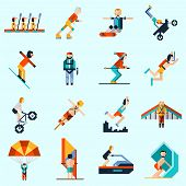 image of ski boat  - Extreme sports decorative icons set with pixel avatar people rowing skiing sailing isolated vector illustration - JPG