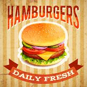 picture of hamburger  - Fast food restaurant poster with beaf meat hamburger emblem vector illustration - JPG