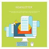 picture of newsletter  - Web contact and business newsletter concept with an email envelope and newspaper - JPG
