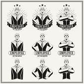 image of employee month  - Retro insignias and logotypes set with elements and templates - JPG