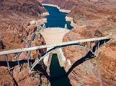 stock photo of dam  - Aerial view of Hoover Dam and the Colorado River Bridge - JPG