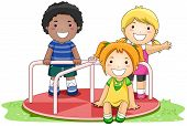picture of merry-go-round  - Children on Merry Go Round in the Park with Clipping Path - JPG