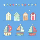 pic of beach hut  - Hand Drawn Beach huts - JPG