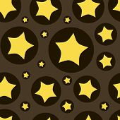 foto of sate  - The yellow stylized stars in black circles on a brown background - JPG