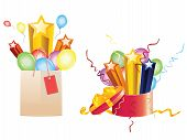 stock photo of school carnival  - Bright festive balloons 3d stars coming out of opened gift box and shopping bag - JPG