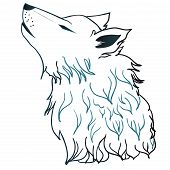 pic of wolf moon  - Stylized cartoon gray wolf head howling wolf - JPG
