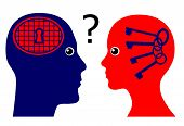 picture of psychological  - Concept sign of a man rising psychological questions about the secrets of women - JPG