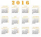 picture of european  - Simple european square 2016 year vector calendar - JPG