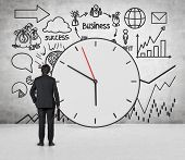 pic of drawing  - young businessman looking to drawing business time concept on wall - JPG