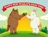 image of year horse  - Fat horse give high five with Fat goat as a year - JPG