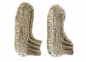 picture of budge  - Traditional Bulgarian knitted slippers isolated on white - JPG