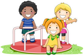 foto of merry-go-round  - Children on Merry Go Round in the Park with Clipping Path - JPG