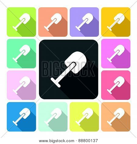 Shovel Icon Color Set Vector Illustration