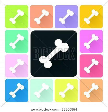 Bone Icon Color Set Vector.