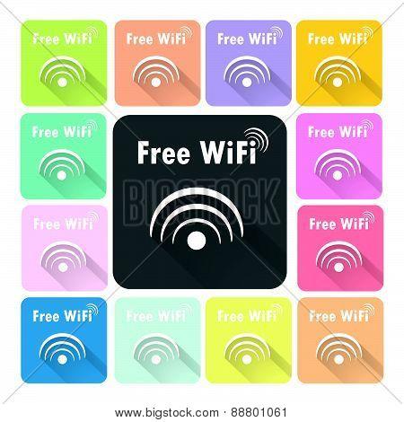 Wifi Icon Color Set Vector Illustration