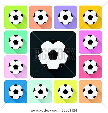 Football Icon Color Set Vector Illustration
