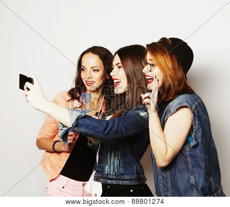 teen funny girls, ready for party, selfie