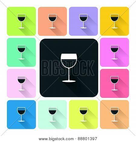 Glass Wine Icon Color Set Vector Illustration