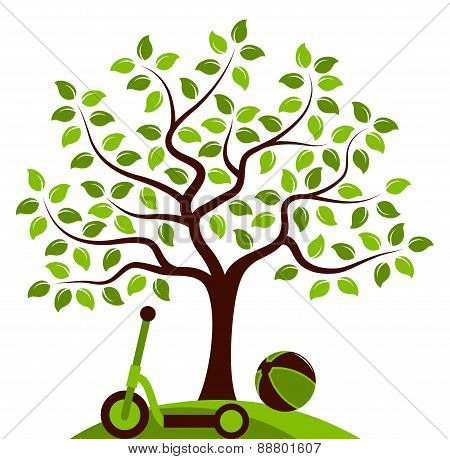 Tree With Ball And Scooter