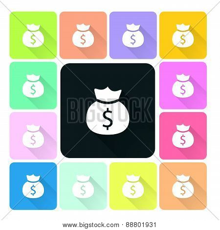 Money Bag Icon Color Set Vector Illustration