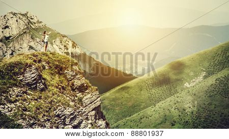 Mountain Climber On The Top Of Hill