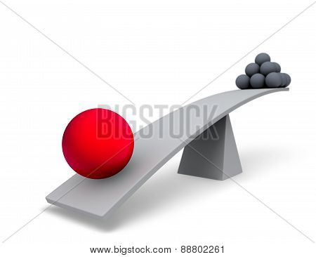 Large Red Sphere Outweighs Stack Of Small Gray Spheres