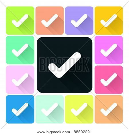 Check Mark Icon Color Set Vector Illustration