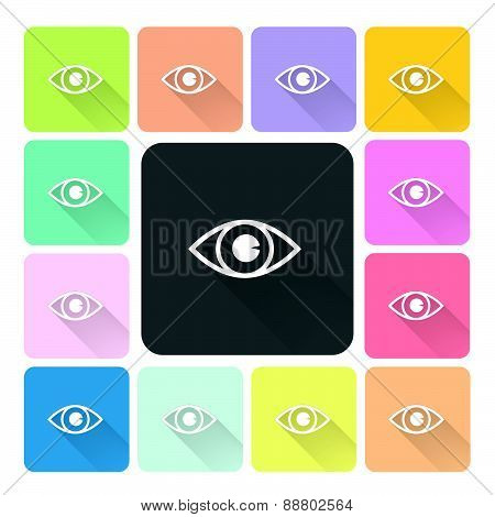 Eye Icon Color Set Vector Illustration