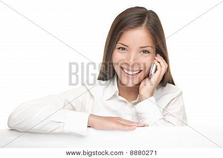 Billboard Sign Woman Talking On Mobile Phone