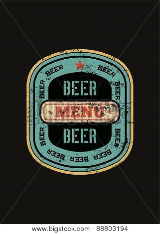 Beer menu design with retro beer label. Vintage grunge style vector illustration.