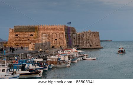 Heraklion Castle  And Harbor In Crete, Greece