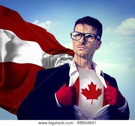 Superhero Businessman Canadian Cloudscape Concept